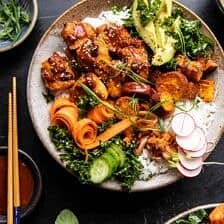 Sheet Pan Korean Chicken Bowl with Sweet Potatoes and Yum Yum Sauce | halfbakedharvest.com #sheetpan #korean