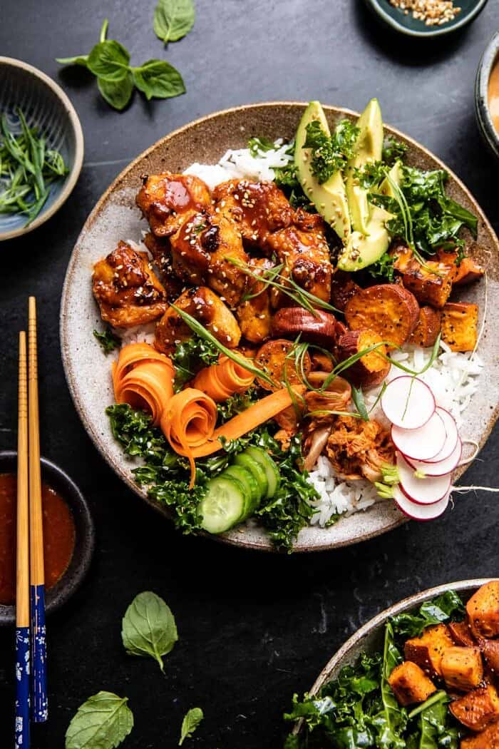 overhead photo of Sheet Pan Korean Chicken Bowl with Sweet Potatoes and Yum Yum Sauce