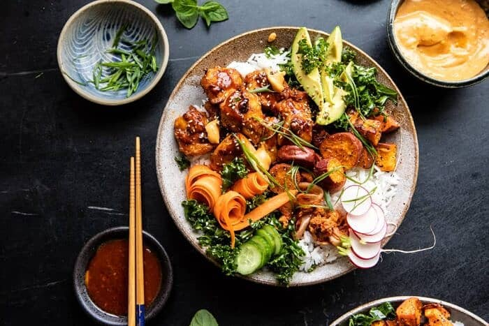 horizontal photo of Sheet Pan Korean Chicken Bowl with Sweet Potatoes and Yum Yum Sauce