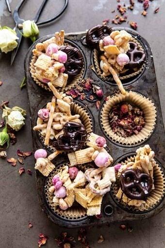 Valentine's Day Double Chocolate Chex Mix | halfbakedharvest.com #chexmix #valentinesday
