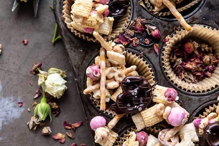 overhead horizontal photo of Valentine's Day Double Chocolate Chex Mix