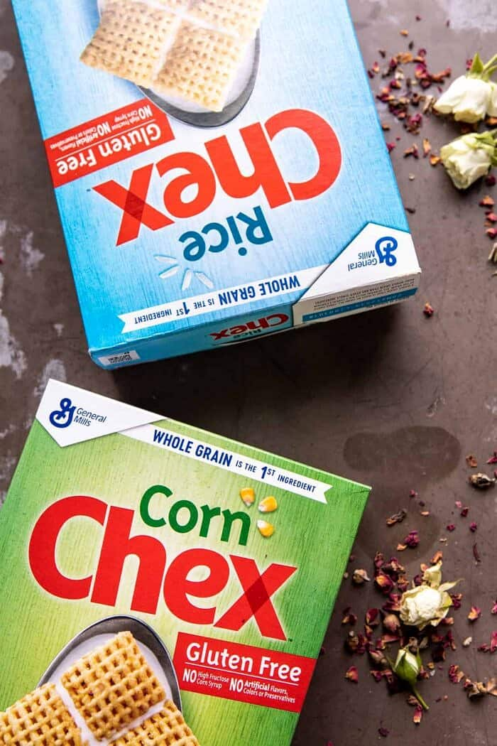 overhead photo of Chex cereal boxes