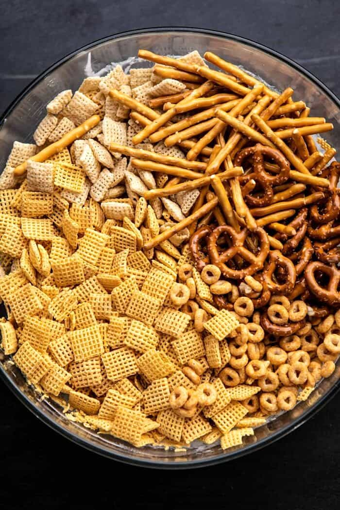 overhead head photo of chex cereal in bowl