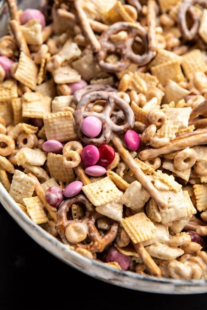 overhead photo of Valentine's Day Double Chocolate Chex Mix in bowl