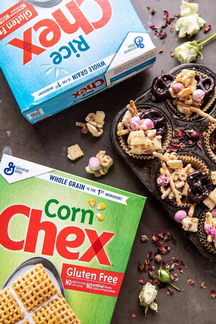 overhead photo of Chex cereal boxes with Valentines Day Chex mix