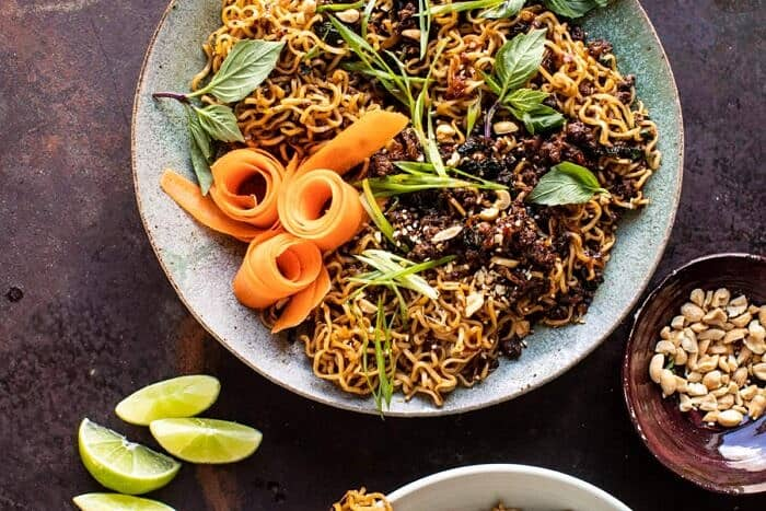 overhead horizontal photo of 30 Minute Caramelized Shallot Beef Ramen Noodles