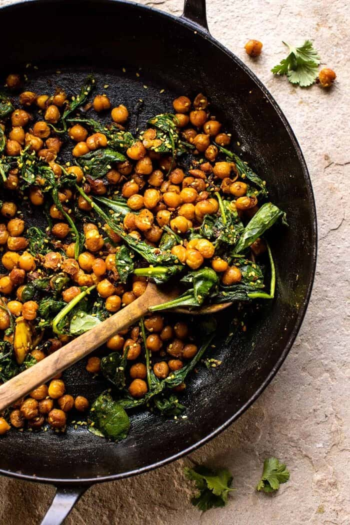 overhead photo of Spiced Golden Chickpeas in skillet