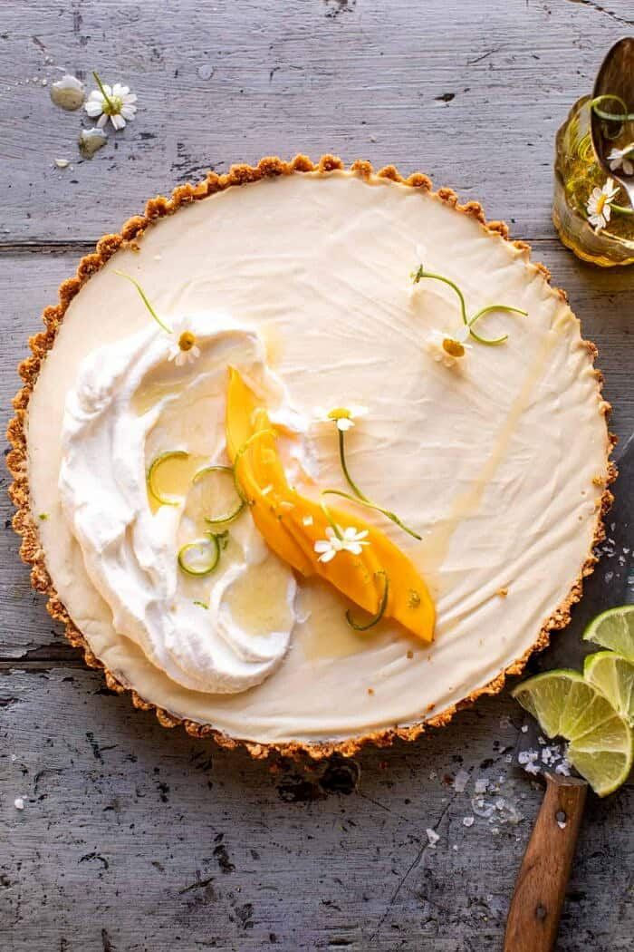 overhead photo of No Fuss Coconut Lime Tart before cutting