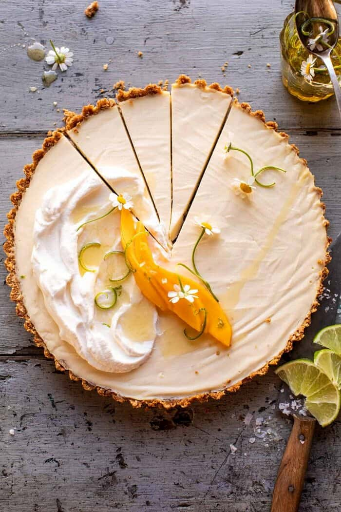 overhead photo of of No Fuss Coconut Lime Tart