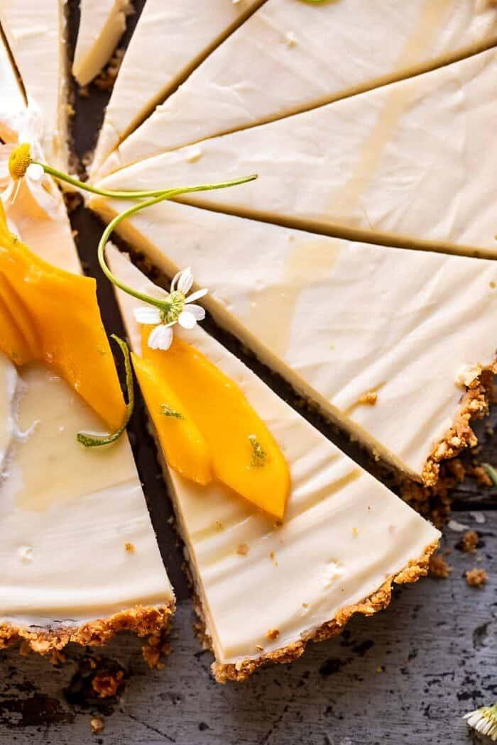 overhead close up photo of No Fuss Coconut Lime Tart slice