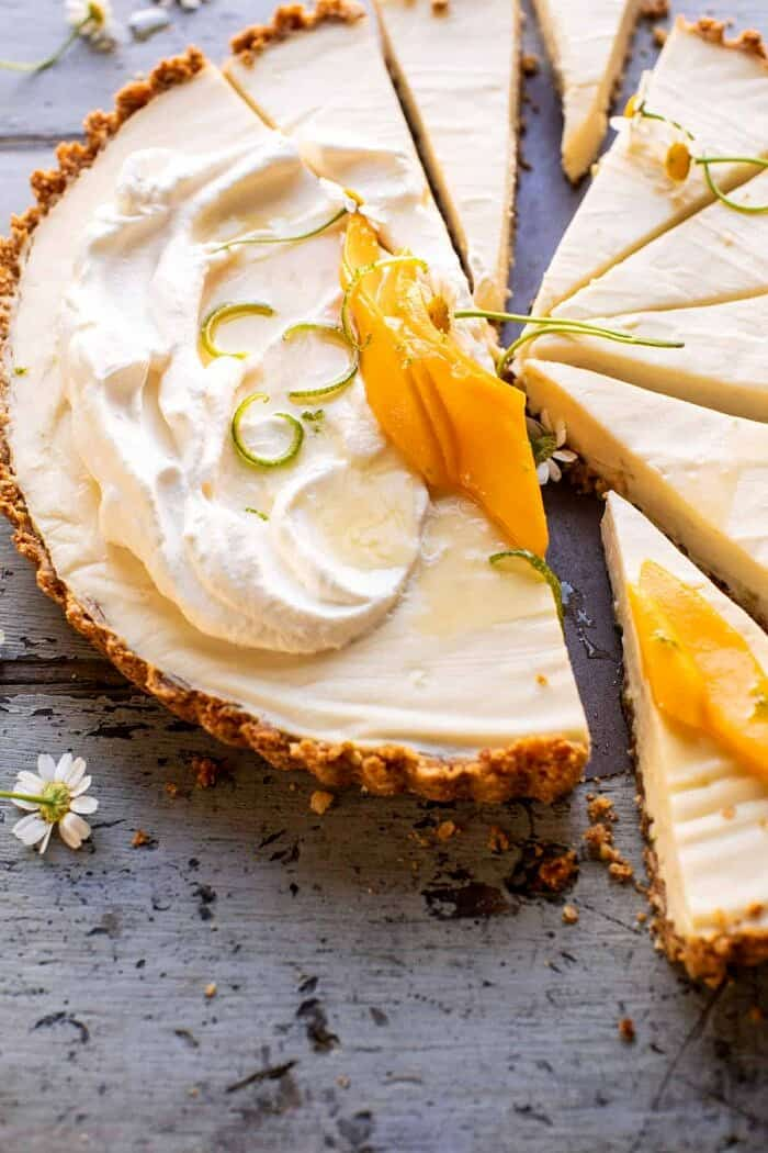 side angled photo of No Fuss Coconut Lime Tart