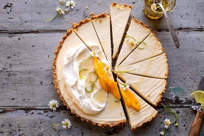 overhead horizontal photo of No Fuss Coconut Lime Tart