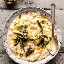 No Stir Brie Risotto with Lemon Butter Asparagus.