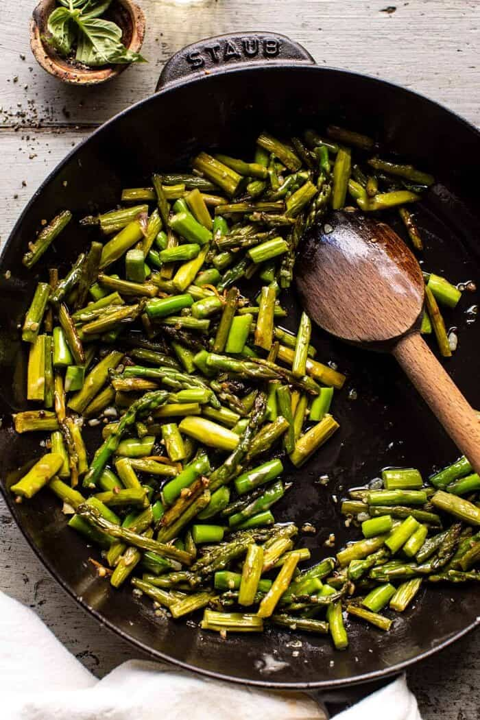 overhead photo of Lemon Butter Asparagus in skillet