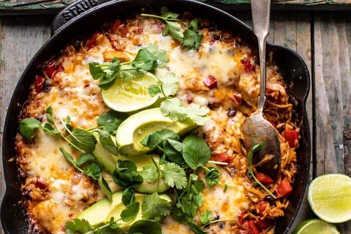 horizontal photo of One Skillet Cheesy Cuban Chicken Rice Bake