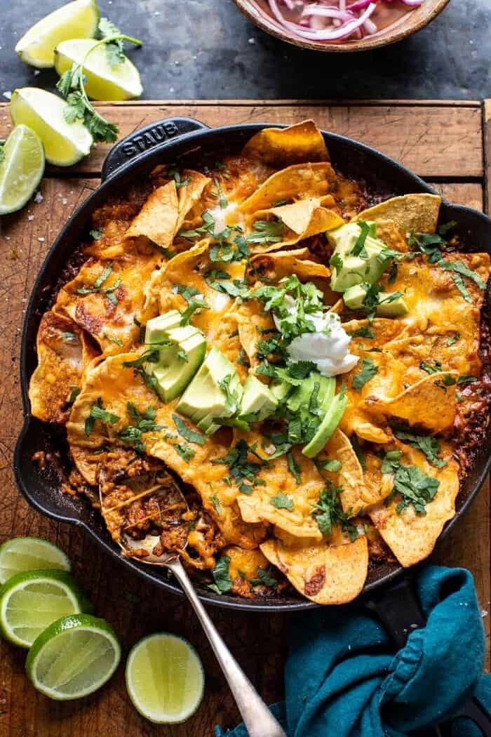 One Skillet Saucy Chicken Tortilla Enchilada Rice Bake | halfbakedharvest.com