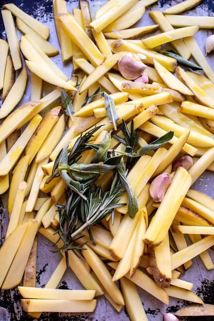 Tuscan Fries on baking sheet before baking