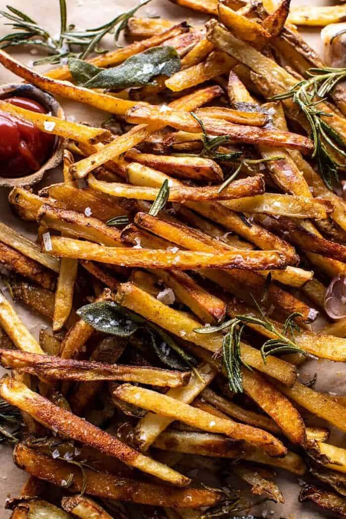 overhead close up photo of Oven Baked Tuscan Fries