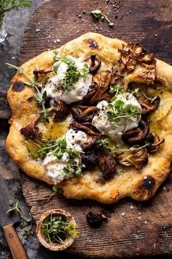 Potato and Wild Mushroom Burrata Pizza | halfbakedharvest.com