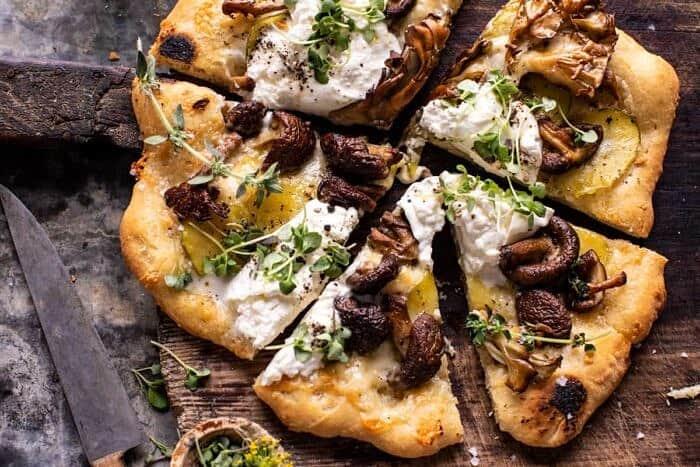 overhead horizontal photo of Potato and Wild Mushroom Burrata Pizza
