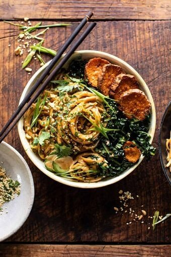 Saucy Tahini Noodles with Honey'd Sweet Potatoes | halfbakedharvest.com