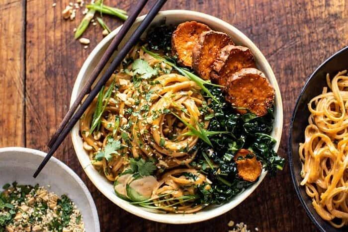 overhead horizontal photo of Saucy Tahini Noodles with Honey'd Sweet Potatoes