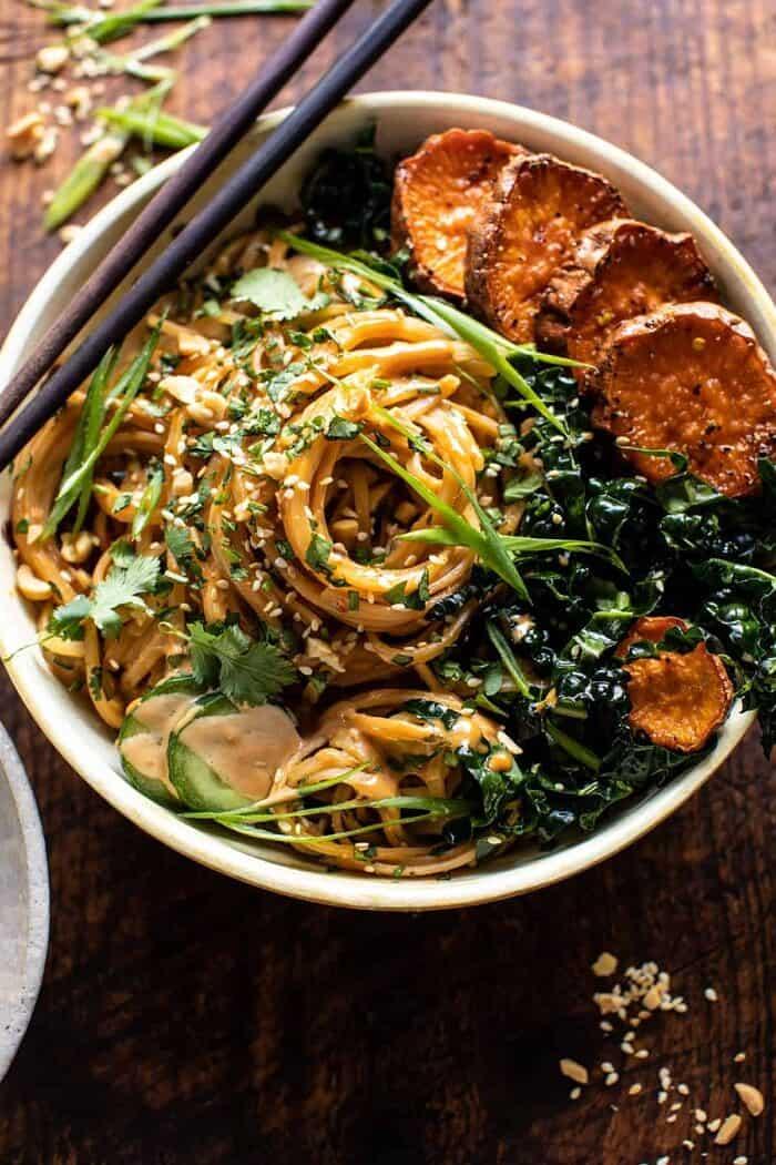 Saucy Tahini Noodles with Honey'd Sweet Potatoes | halfbakedharvest.com