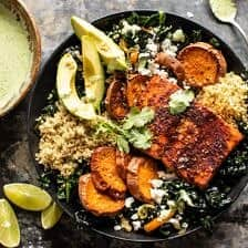 Sheet Pan Chipotle Salmon with Cilantro Lime Special Sauce.
