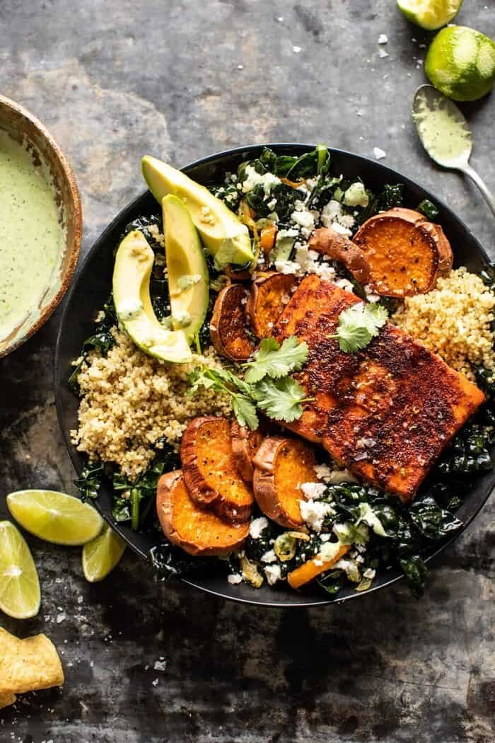 overhead photo Sheet Pan Chipotle Salmon with Cilantro Lime Special Sauce