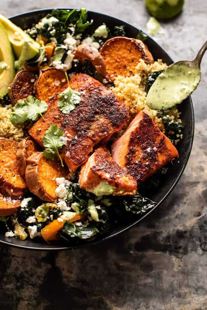side angled close up photo sheet pan Salmon with Cilantro Lime Special Sauce