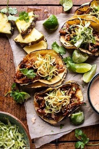 Slow Cooker Braised Hawaiian Pineapple Chicken Tacos | halfbakedharvest.com