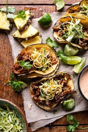 Slow Cooker Braised Hawaiian Pineapple Chicken Tacos.