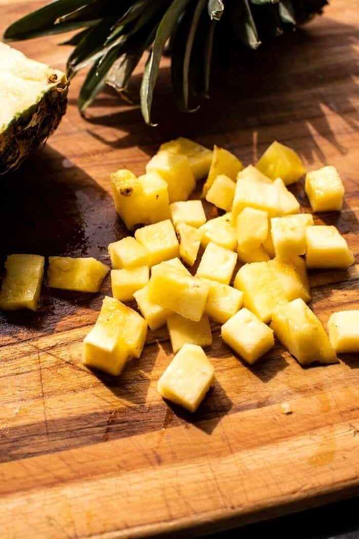 prep photo of Pineapple chunks on cutting board