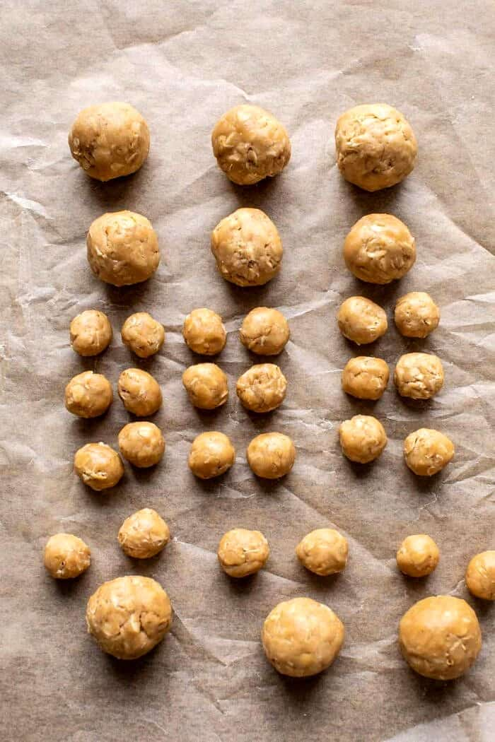 prep photo of cookie dough balls before assembling