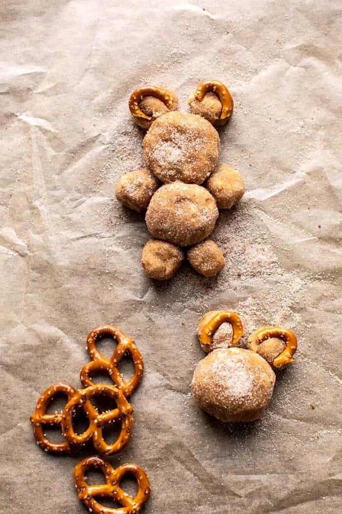 prep photo of teddy bears on baking sheet before baking
