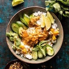 Weeknight Thai Peanut Chicken with Spicy Lime Mango | halfbakedharvest.com