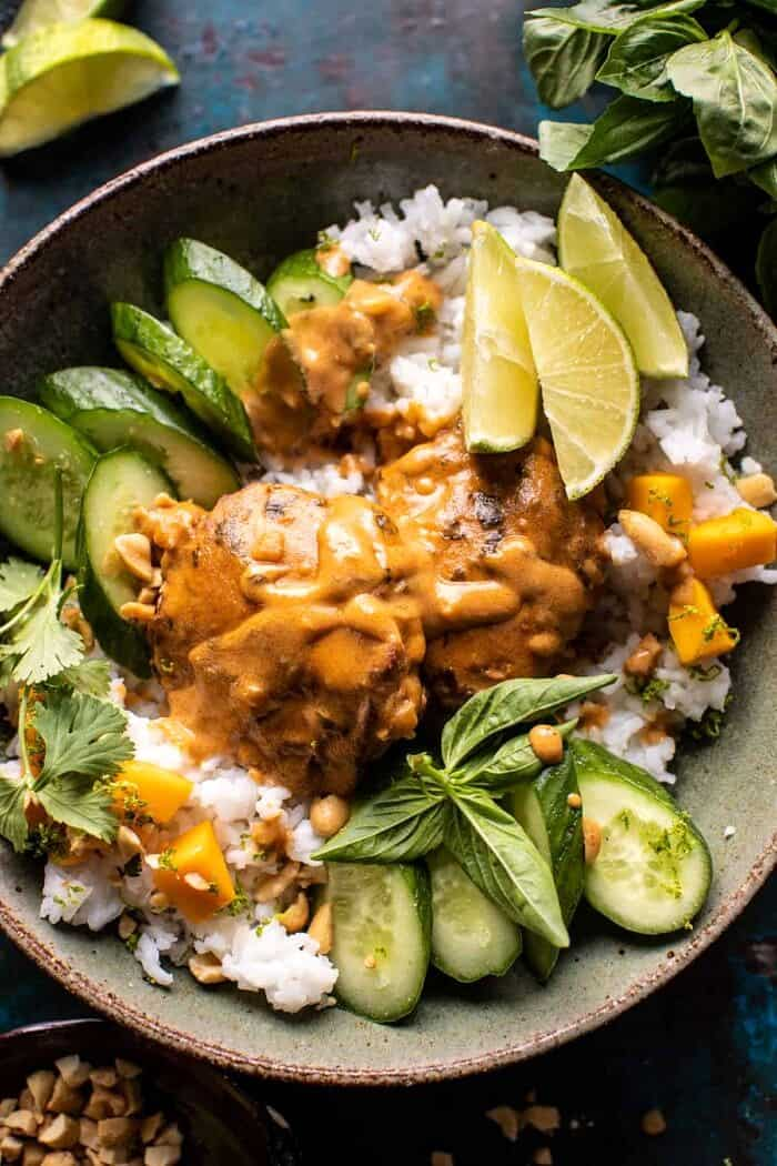 overhead close up photo of Weeknight Thai Peanut Chicken with Spicy Lime Mango