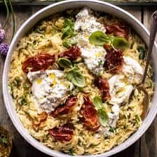 20 Minute Orzo Carbonara with Crispy Prosciutto and Burrata.