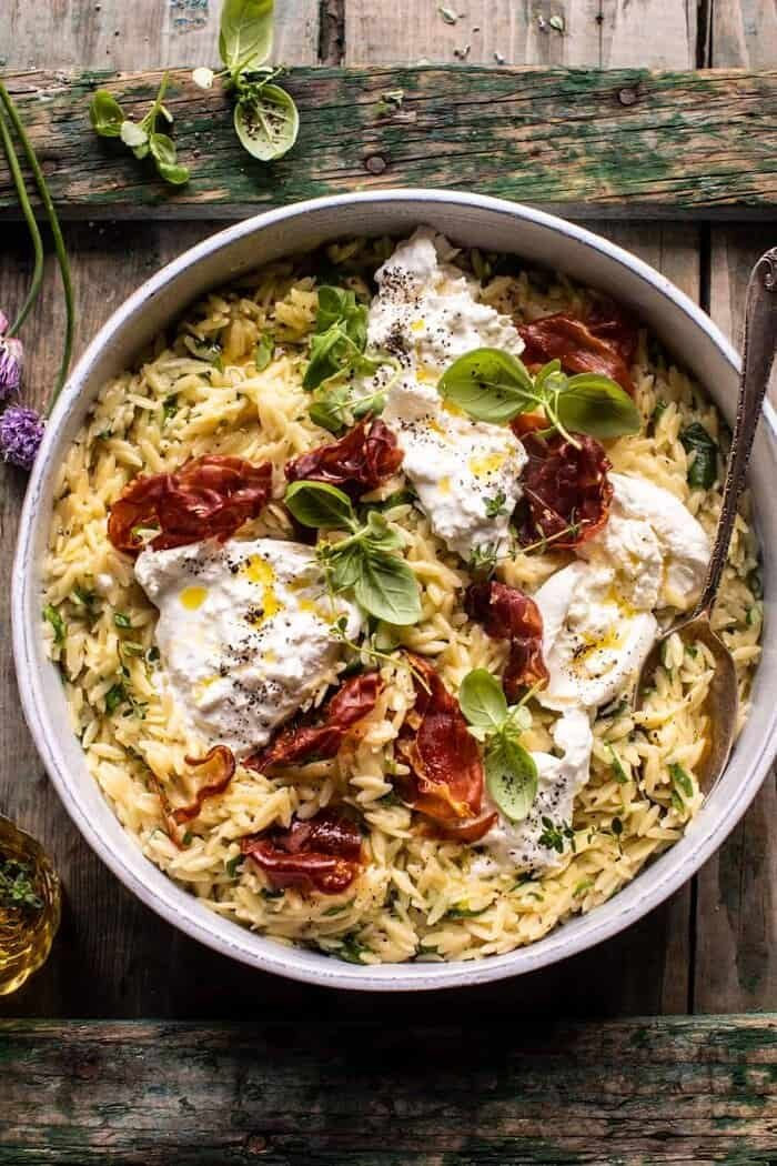 20 Minute Orzo Carbonara with Crispy Prosciutto and Burrata | halfbakedharvest.com