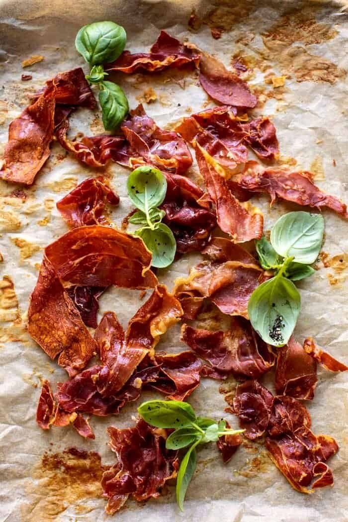 overhead prep of Crispy Prosciutto on baking sheet