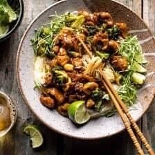 Thai Black Pepper Chicken and Garlic Noodles.