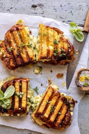 Artichoke and Broccoli Pesto Brie Panini with Thyme Honey | halfbakedharvest.com