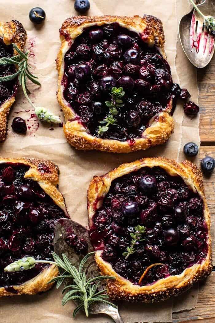 overhead photo of Bursting Blueberry Lemon Thyme Tarts