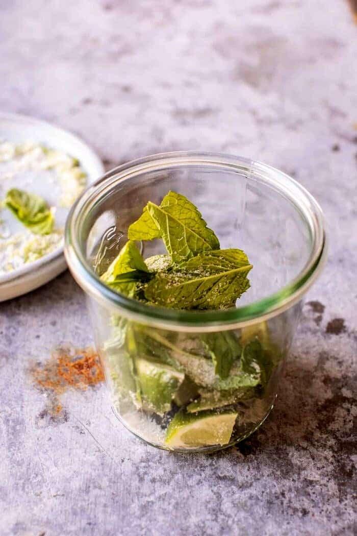 prep photo of muddling mint in jar