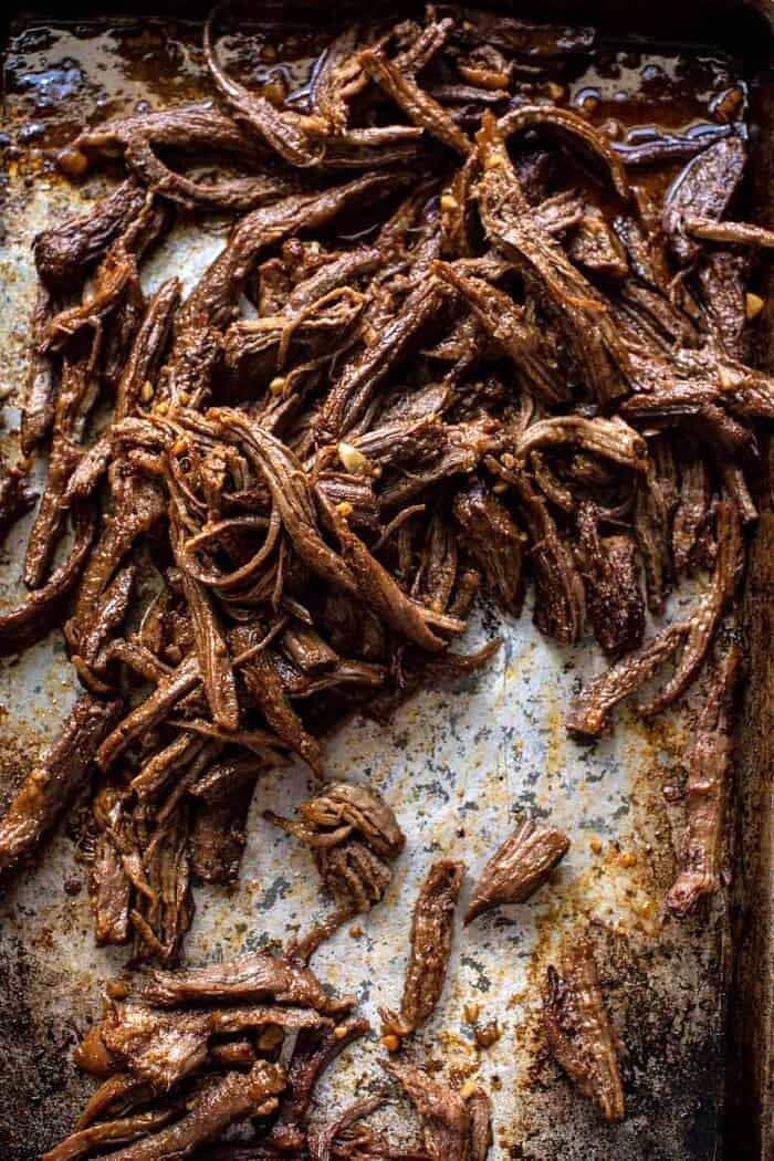 overhead photo of Crockpot Carne Asada meat