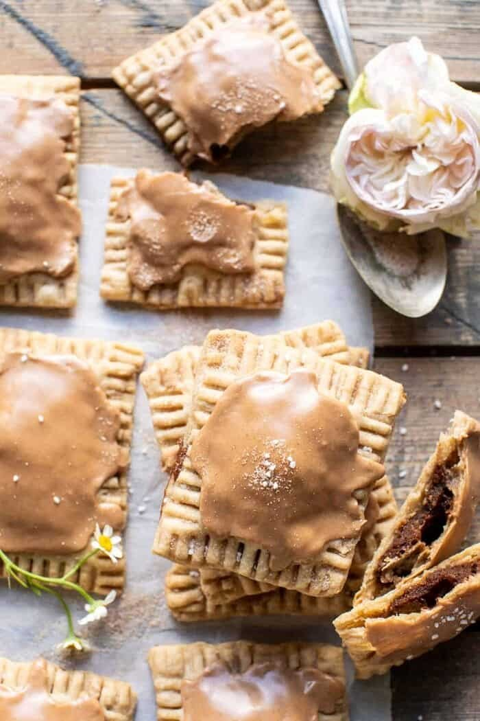 overhead close up photo of Homemade Frosted Brown Sugar Cinnamon Pop Tarts