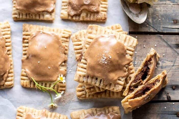 overhead horizontal photo of Homemade Frosted Brown Sugar Cinnamon Pop Tarts