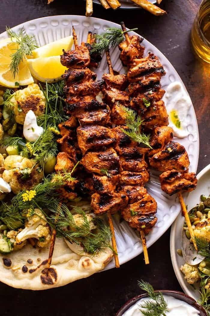 overhead close up photo of Lebanese Chicken with Charred Lemon Cauliflower