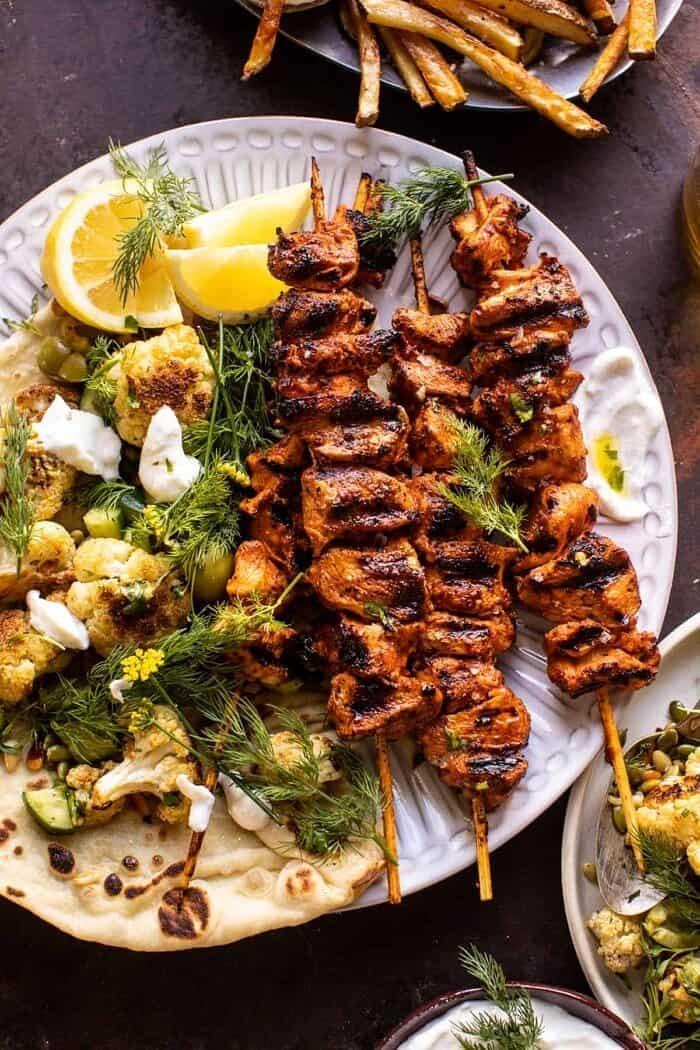 Lebanese Chicken with Charred Lemon Cauliflower | halfbakedharvest.com