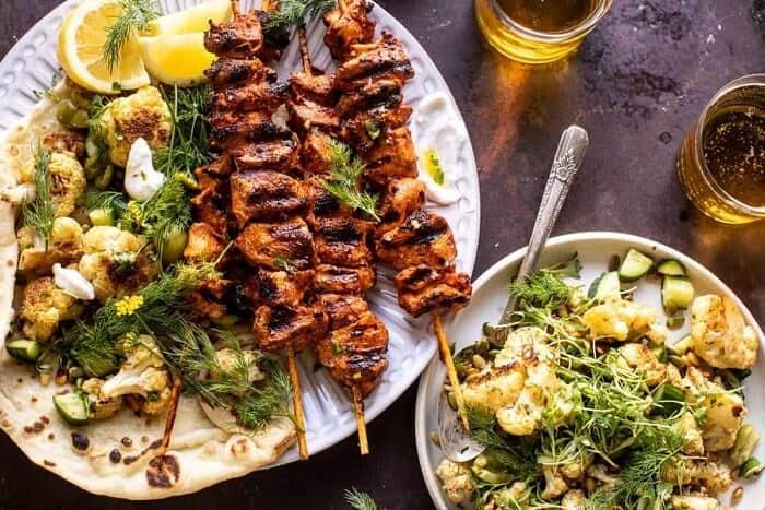 overhead horizontal photo of Lebanese Chicken with Charred Lemon Cauliflower